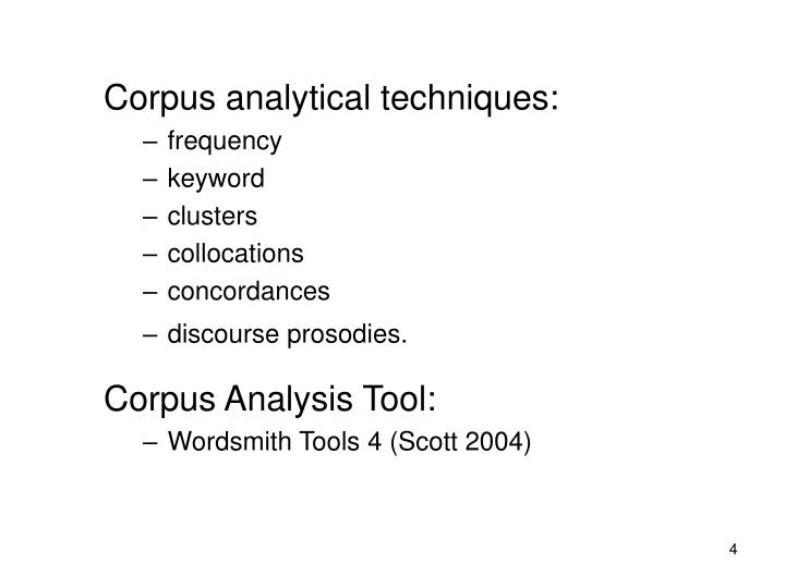 Corpus analytical techniques: