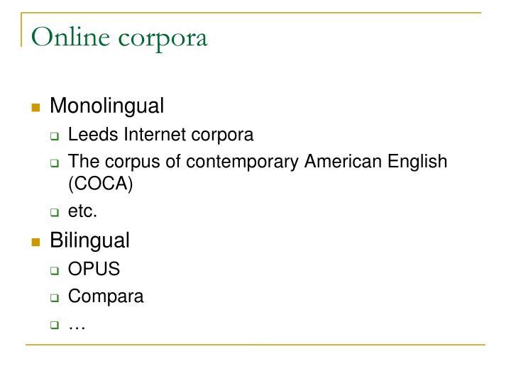 Online corpora