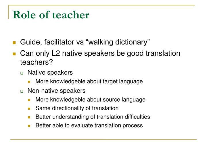 Role of teacher