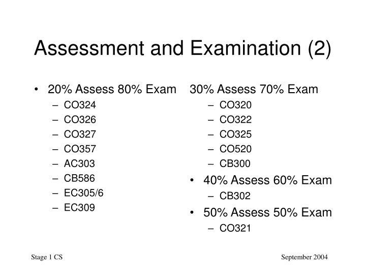 20% Assess 80% Exam