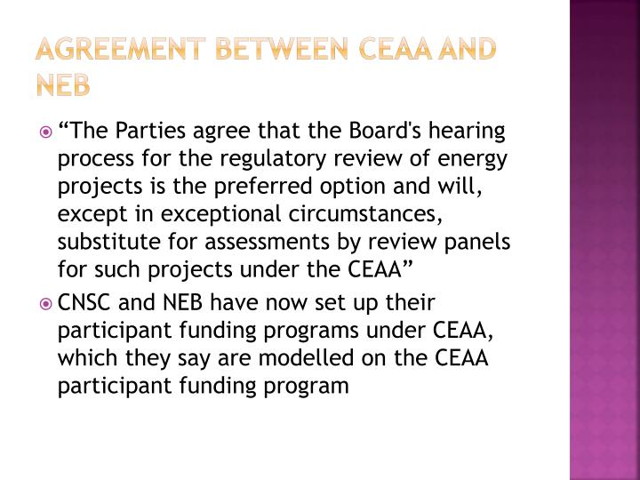 Agreement between CEAA and