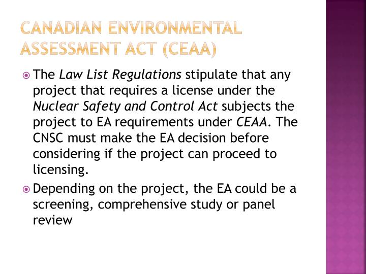 Canadian environmental assessment act (