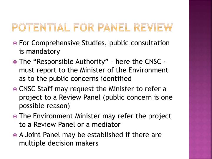 Potential for panel review