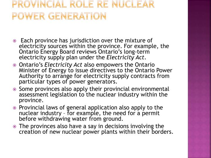 Provincial role re nuclear power generation