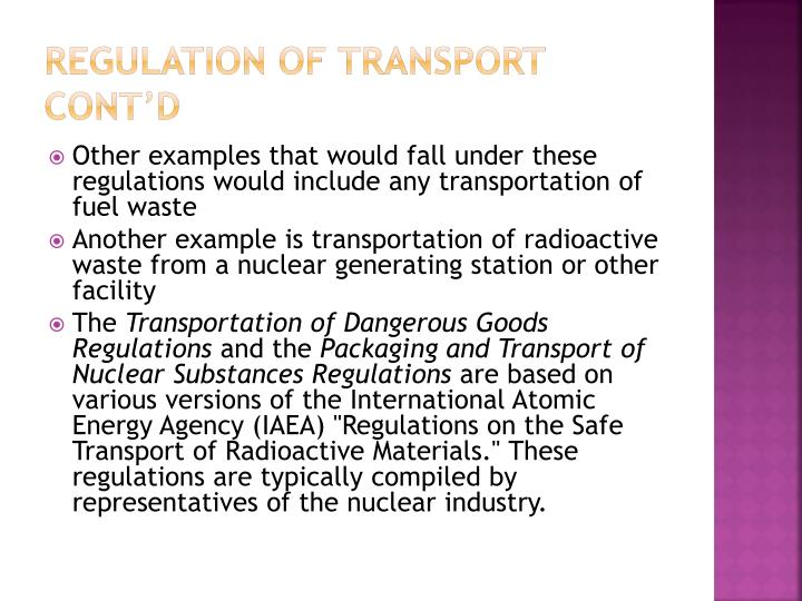 Regulation of transport cont'd