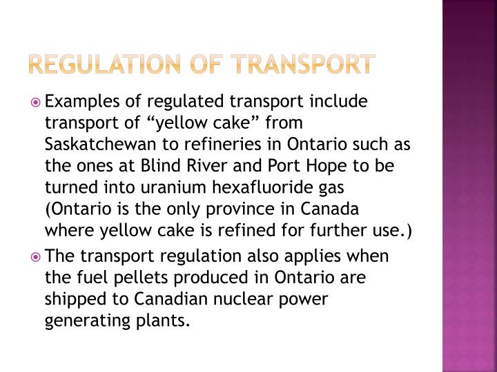 Regulation of transport