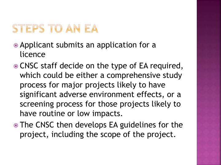 Steps to an ea