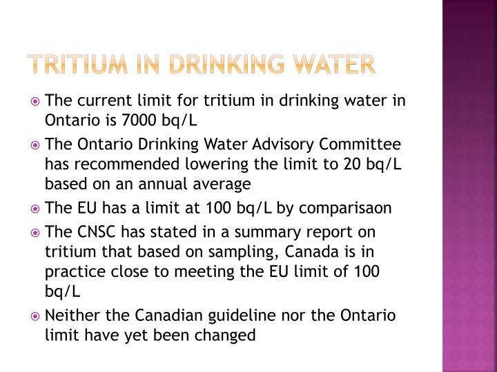 Tritium in Drinking water