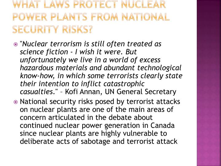 What Laws Protect Nuclear Power Plants from National Security Risks?