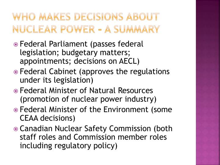 Who makes decisions about nuclear power – a summary