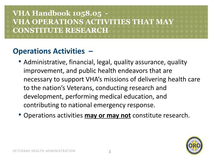 Vha handbook 1058 05 vha operations activities that may constitute research