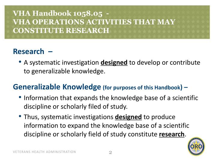 Vha handbook 1058 05 vha operations activities that may constitute research1