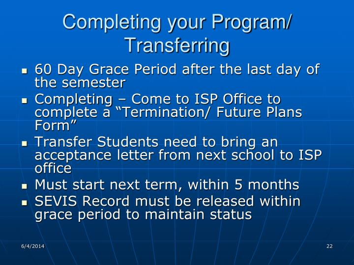Completing your Program/ Transferring