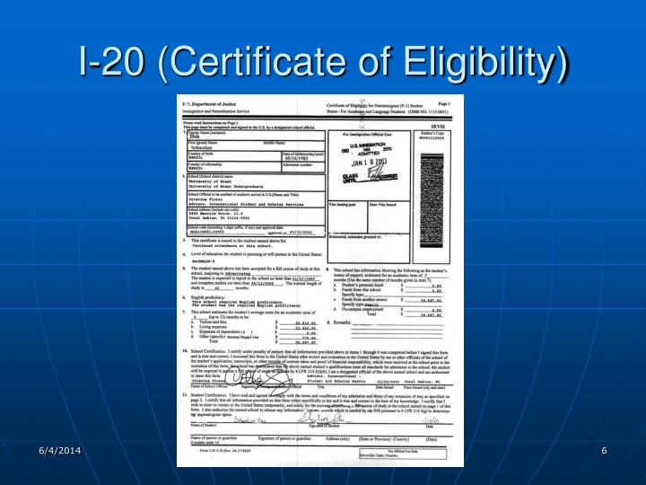 I-20 (Certificate of Eligibility)