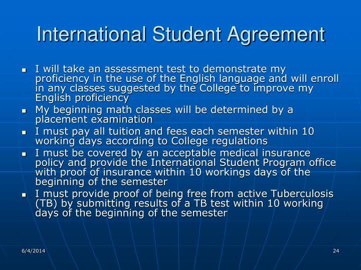 International Student Agreement
