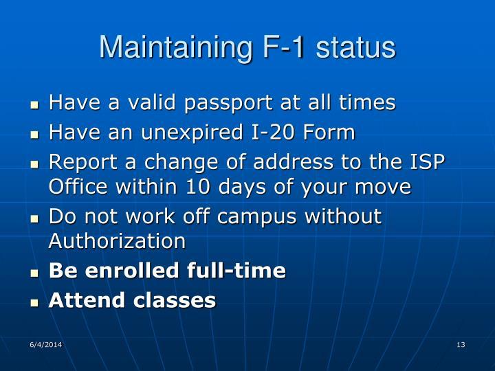 Maintaining F-1 status