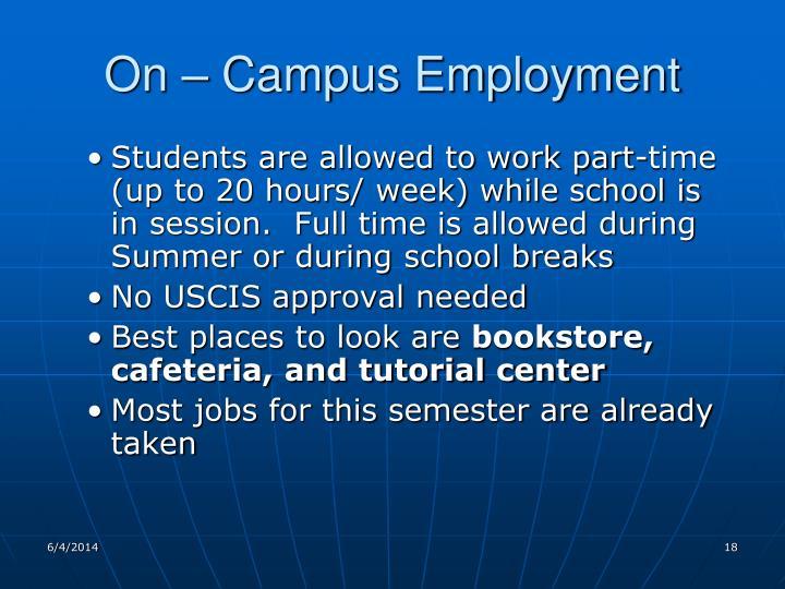 On – Campus Employment