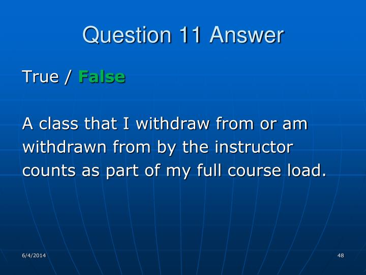 Question 11 Answer