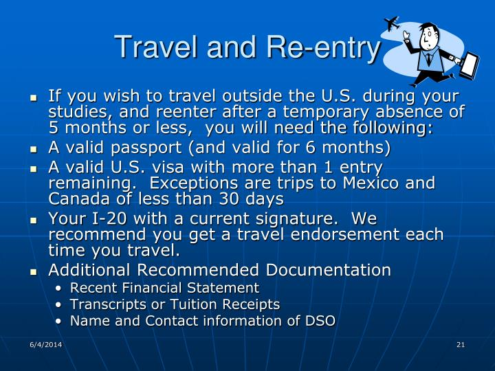 Travel and Re-entry