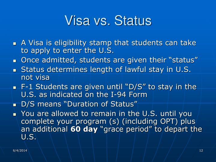 Visa vs. Status