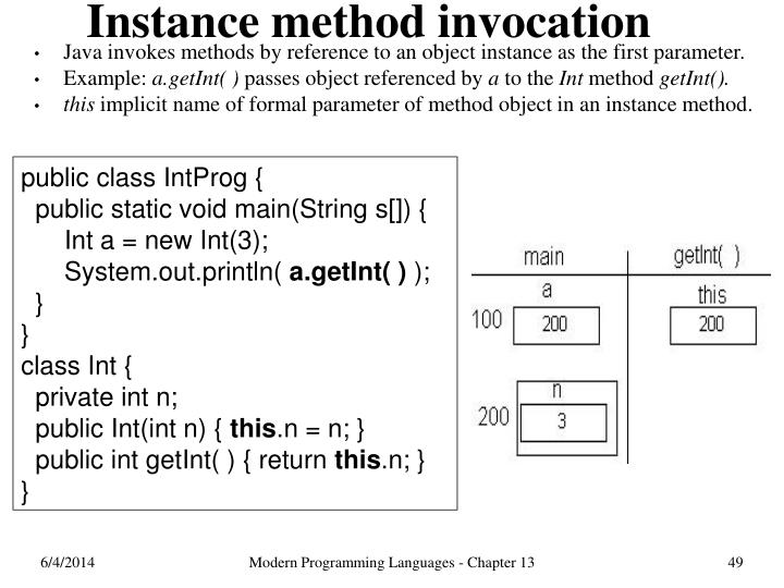 Instance method invocation