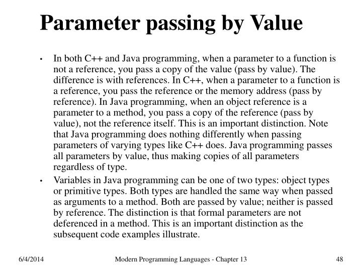 Parameter passing by Value