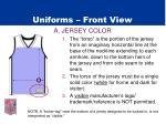 uniforms front view