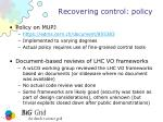 recovering control policy
