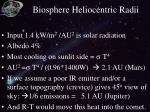 biosphere heliocentric radii