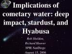 implications of cometary water deep impact stardust and hyabusa