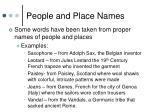 people and place names