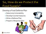 so how do we protect the food supply