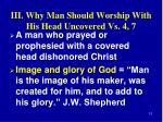 iii why man should worship with his head uncovered vs 4 71