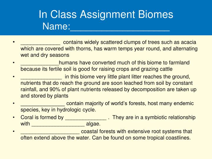 in class assignment biomes name n.