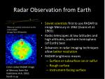 radar observation from earth