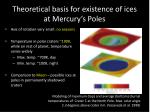 theoretical basis for existence of ices at mercury s poles