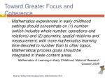 toward greater focus and coherence1