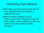 continuing care residents