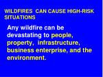 wildfires can cause high risk situations