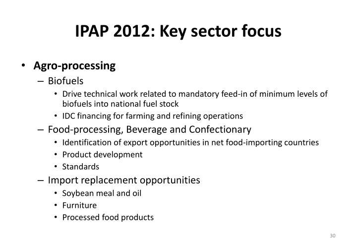 IPAP 2012: Key sector focus