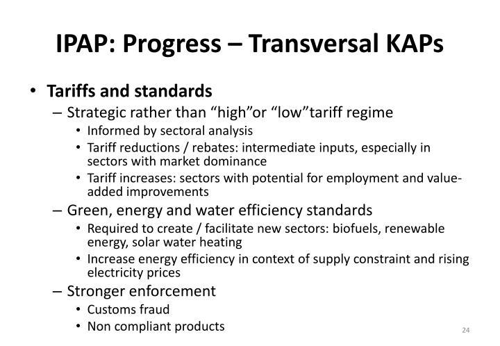 IPAP: Progress – Transversal KAPs
