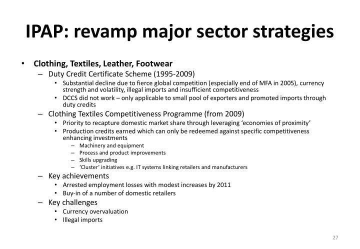 IPAP: revamp major sector strategies