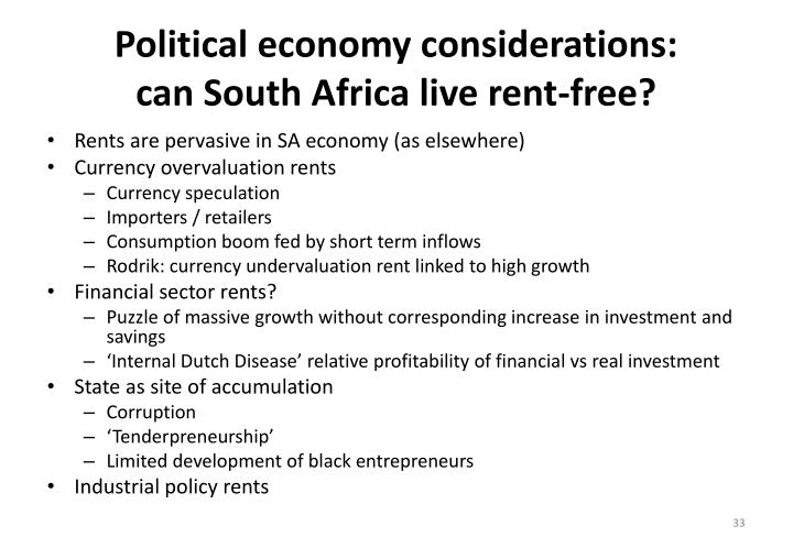 Political economy considerations: