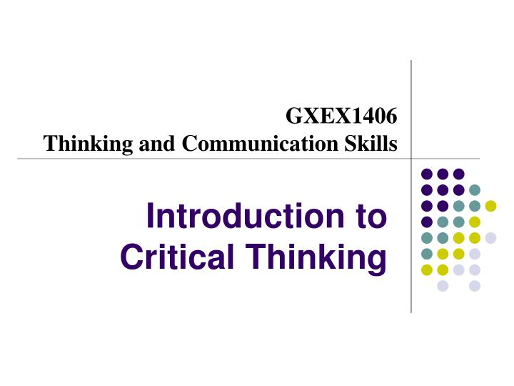 critical thinking intro powerpoint