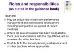 roles and responsibilities as stated in the guidance book