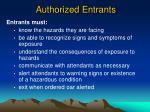 authorized entrants