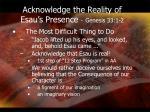 acknowledge the reality of esau s presence genesis 33 1 2