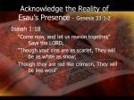 acknowledge the reality of esau s presence genesis 33 1 21