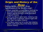 origin and history of the moon