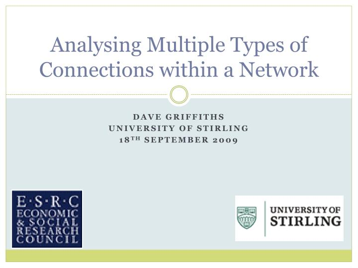 analysing multiple types of connections within a network n.